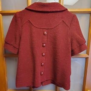 Maroon Wool Short Sleeve Blazer Jacket Sz M